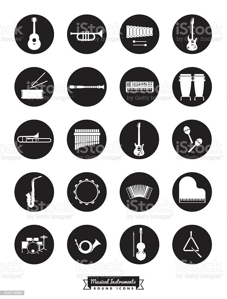 Musical Instruments Round Vector Icon Set vector art illustration