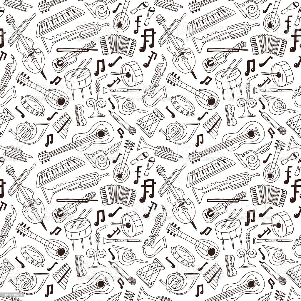 musical instruments - seamless background royalty-free stock vector art