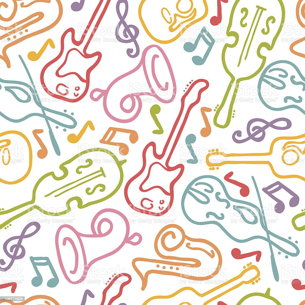 Musical Instruments Seamless Pattern Background royalty-free stock vector art