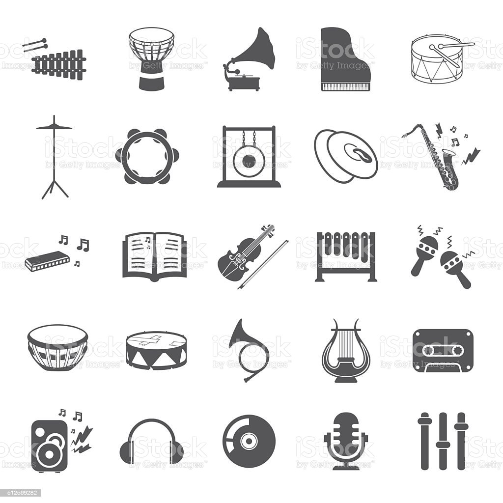 Musical instruments set 25 black simple icons. Music equipment icon. vector art illustration