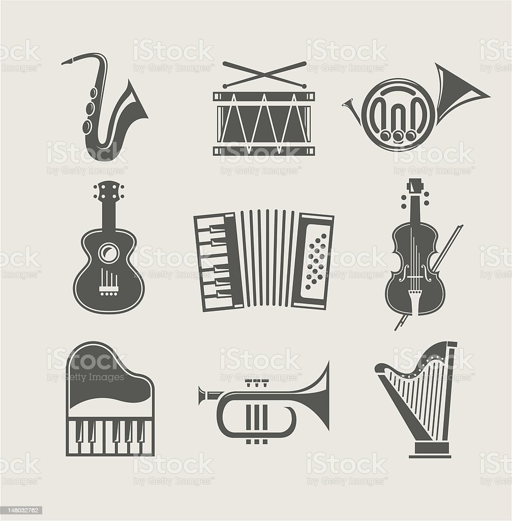 musical instruments set of icons royalty-free stock vector art
