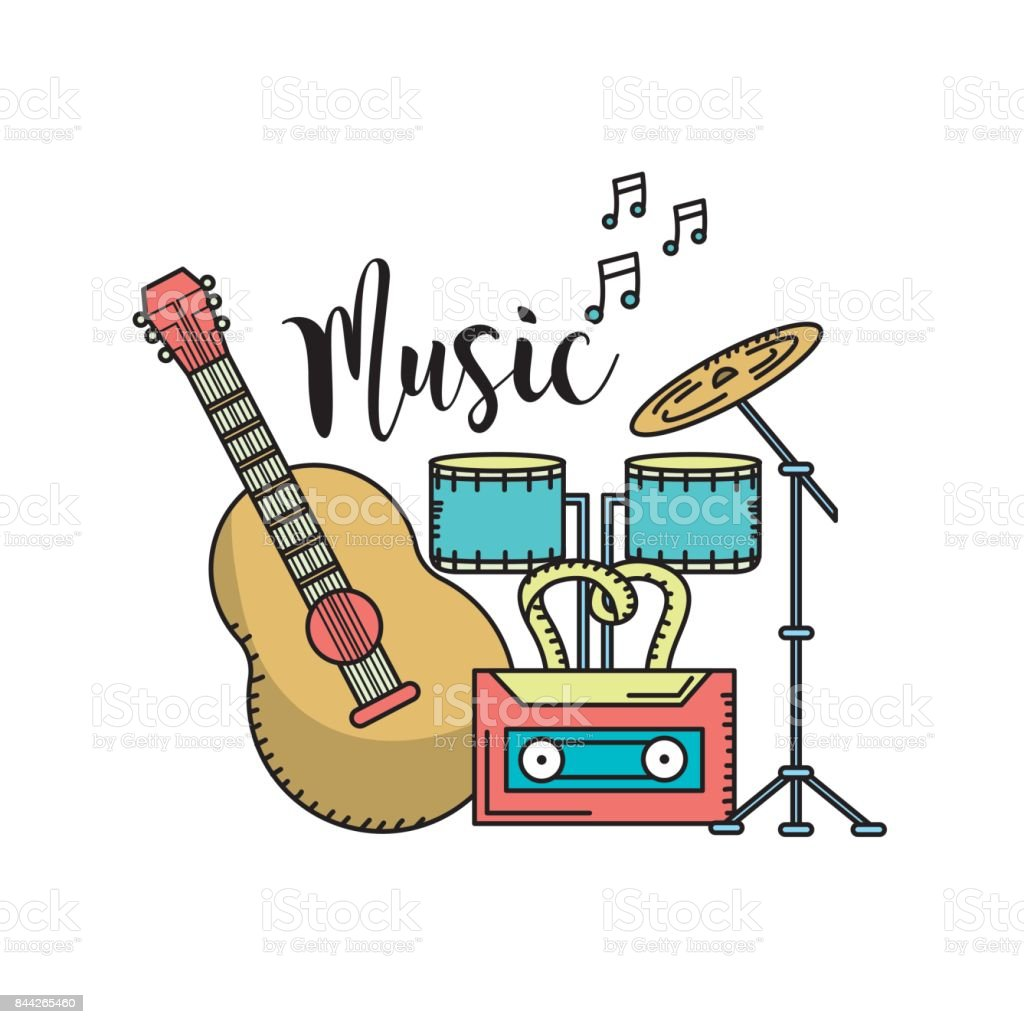 musical instruments to play music vector art illustration