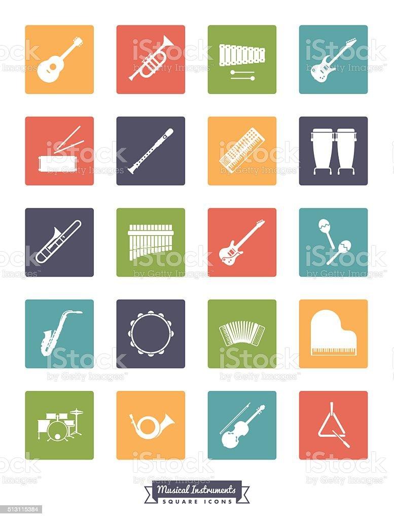 Musical Instruments Vector Icon Set vector art illustration