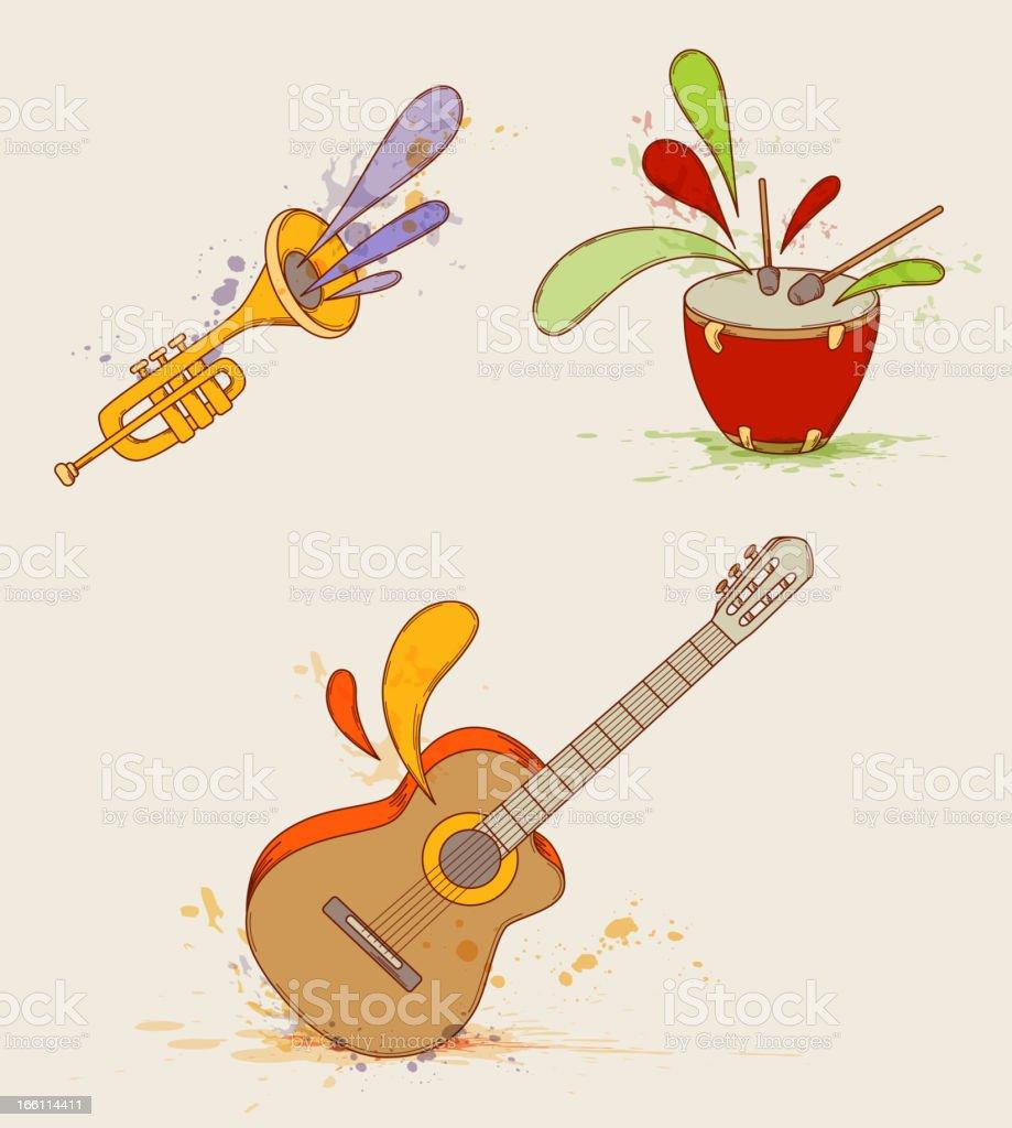 Musical instruments vector art illustration