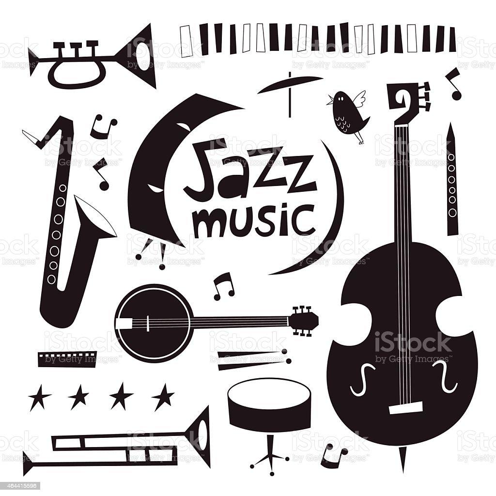 Musical instruments vintage vector set in black and white vector art illustration
