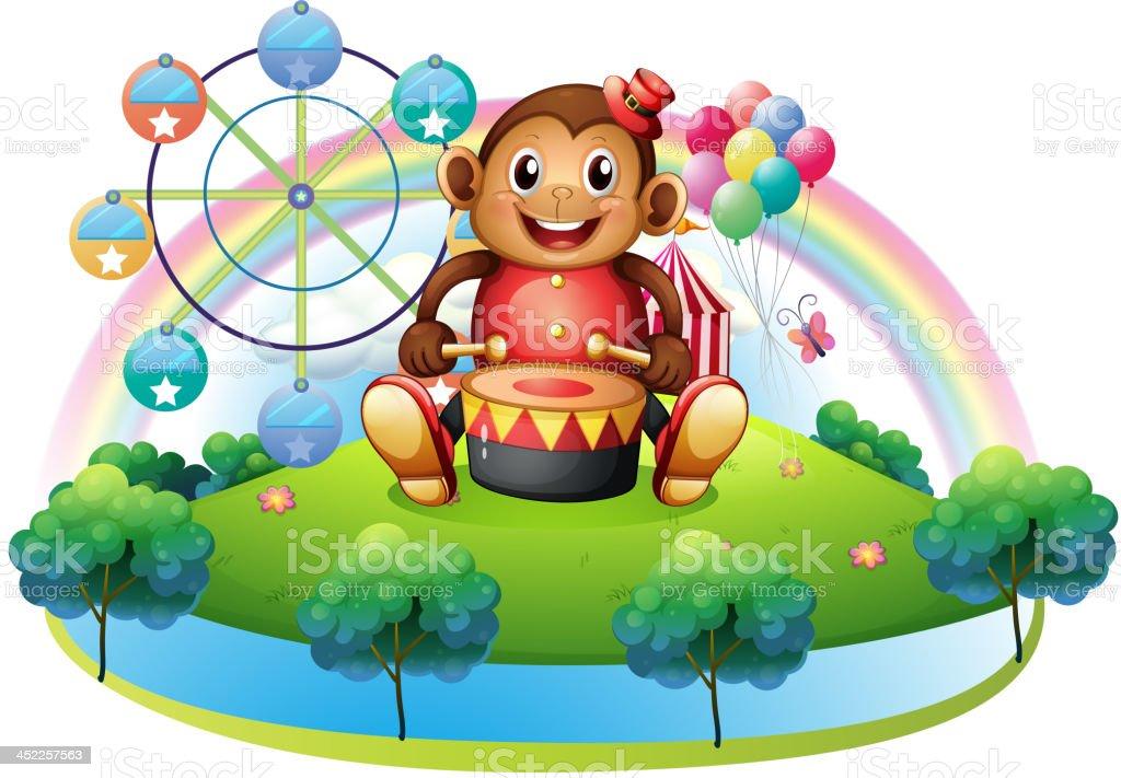 musical monkey near the ferris wheel royalty-free stock vector art