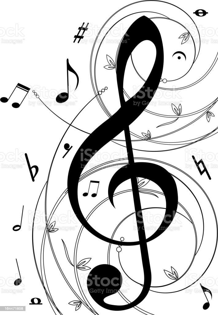 Musical notation symbols on white background royalty-free stock vector art