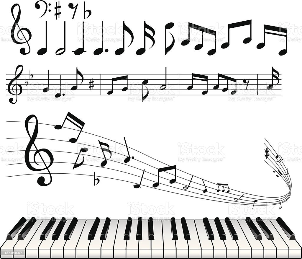 Musical note abstract background vector art illustration