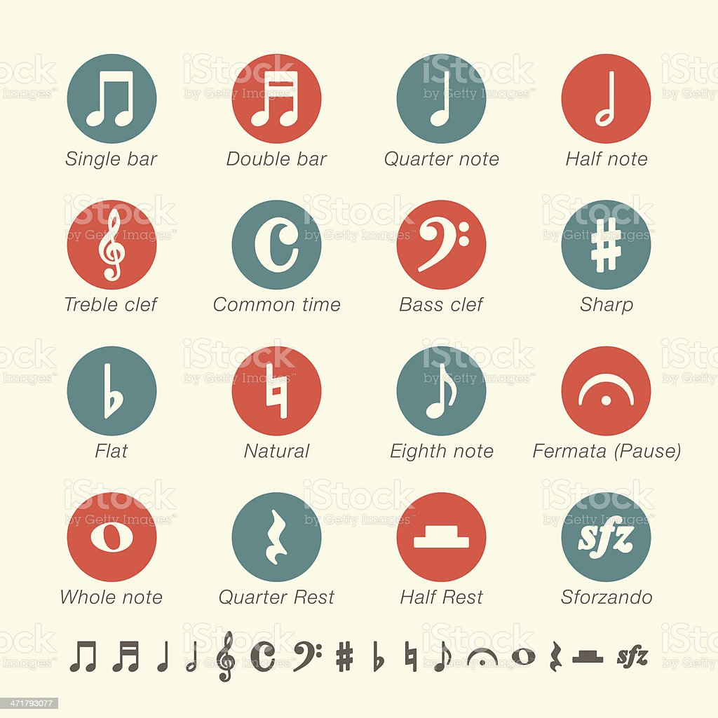 Musical Note Icons - Color Series vector art illustration