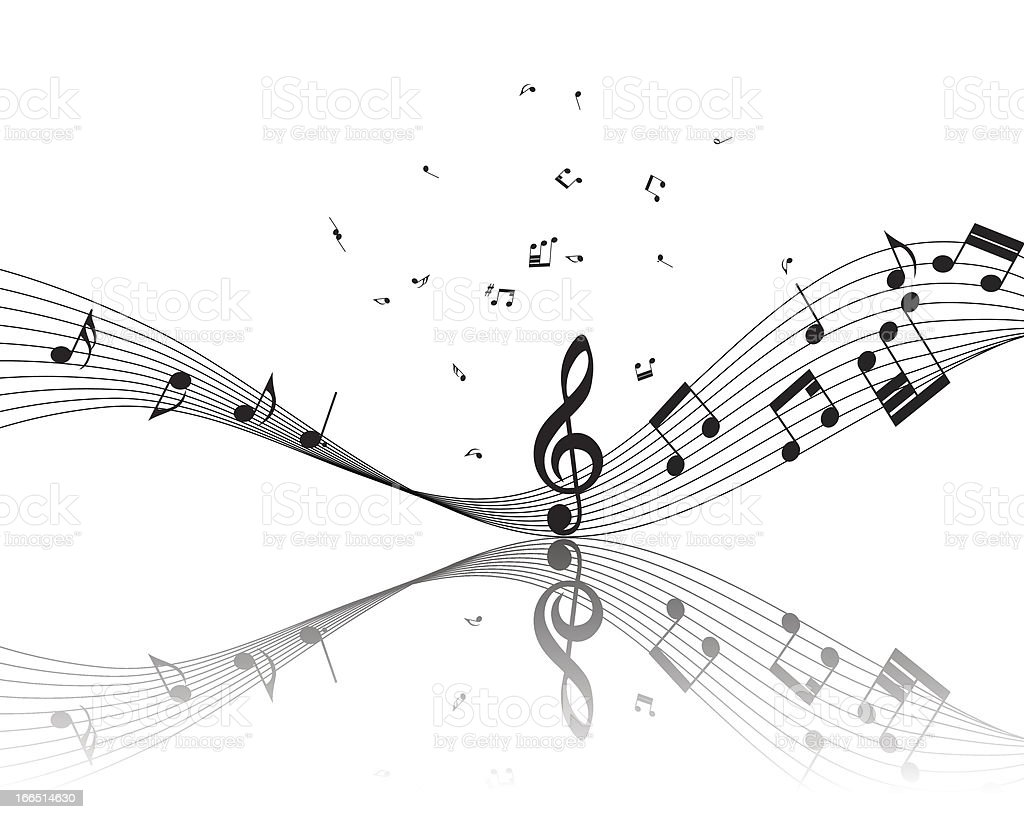 Musical note staff vector art illustration
