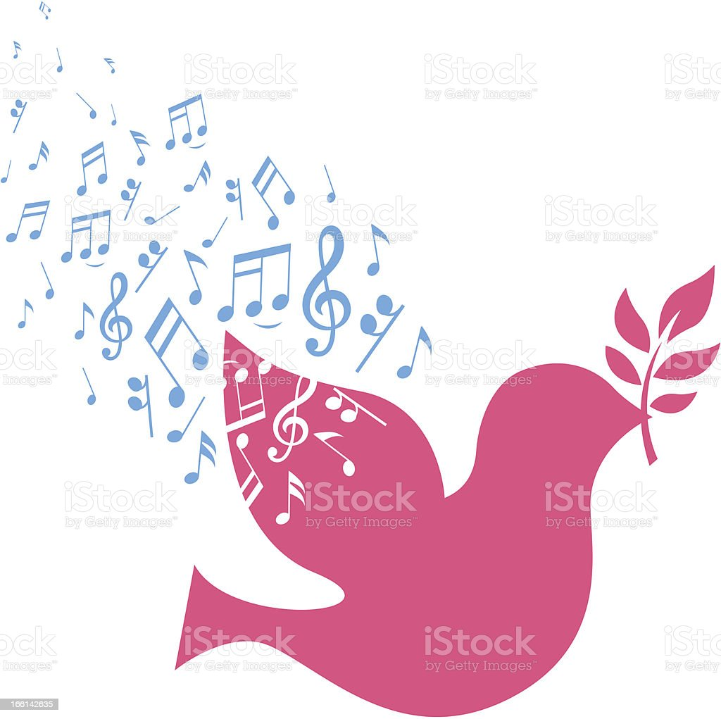 musical notes and dove royalty-free stock vector art