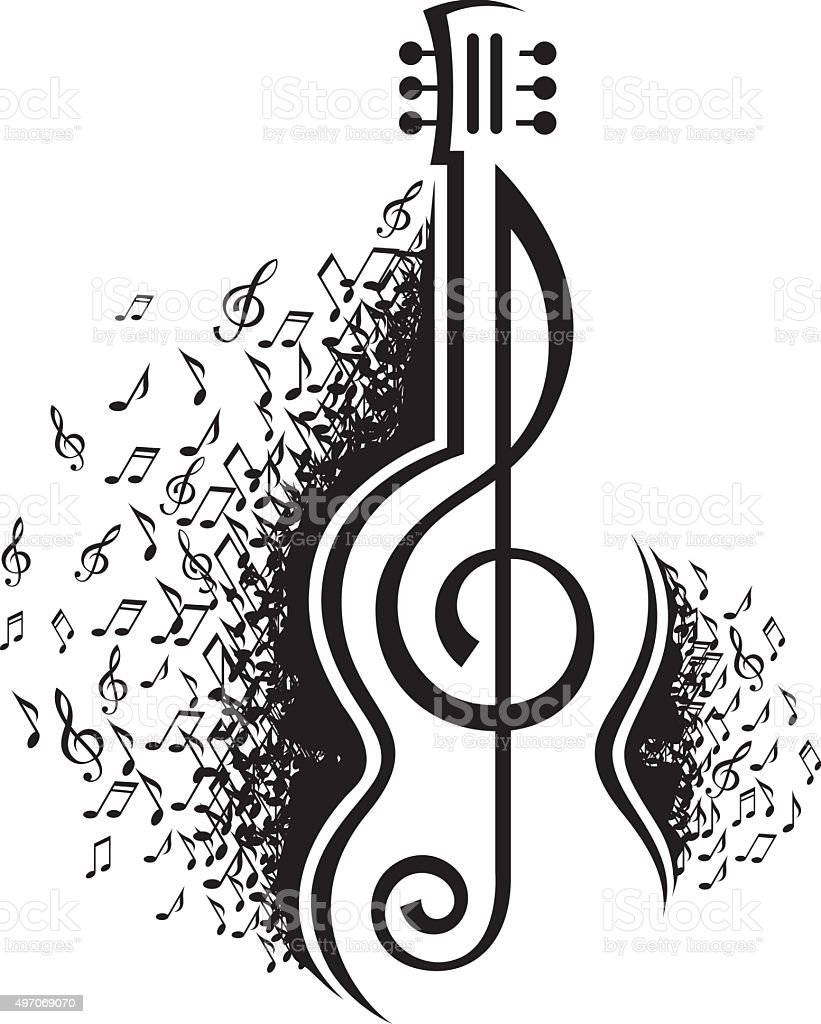 musical notes and guitar vector art illustration