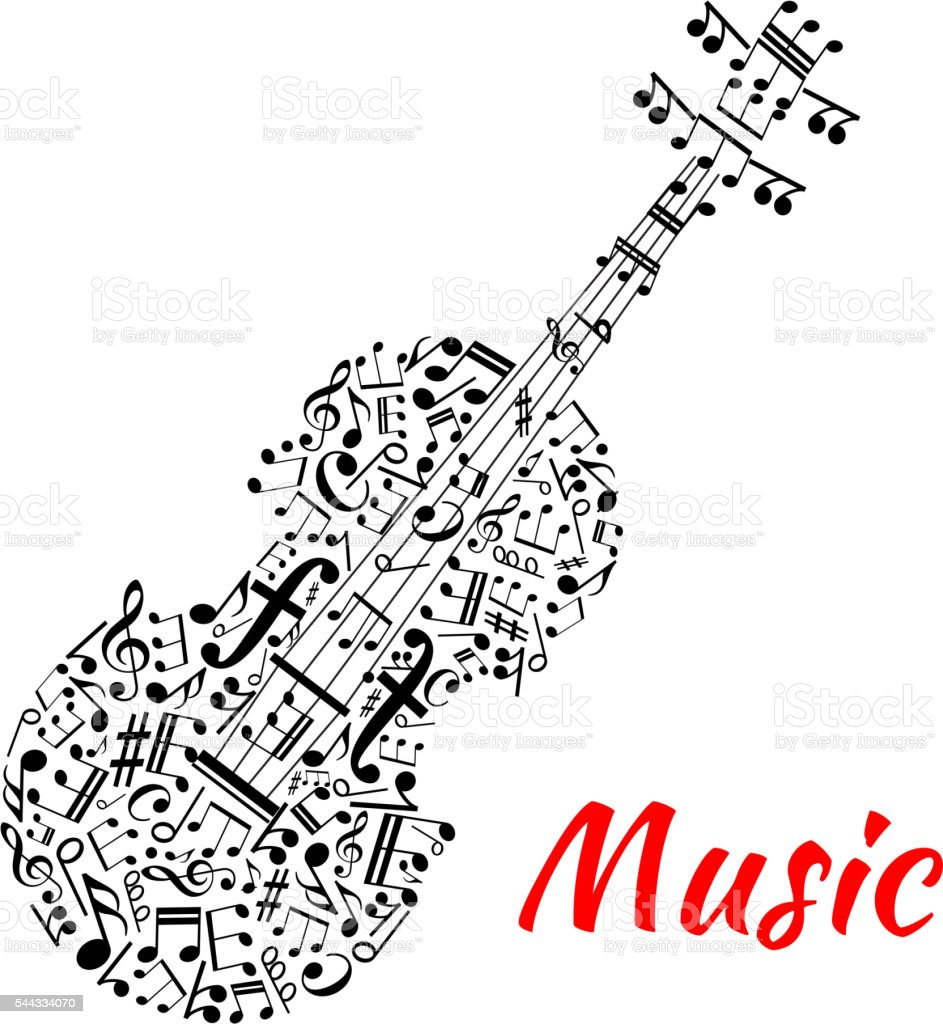 Musical notes and symbols shaped like a violin vector art illustration