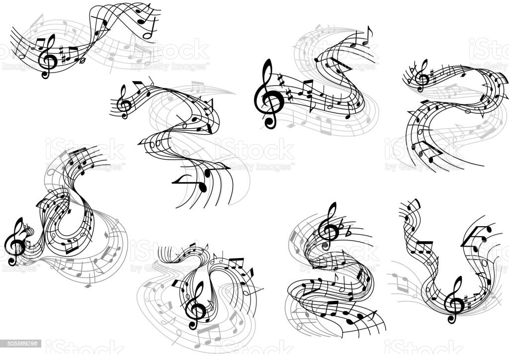 Musical notes and treble clefs on wavy staves vector art illustration