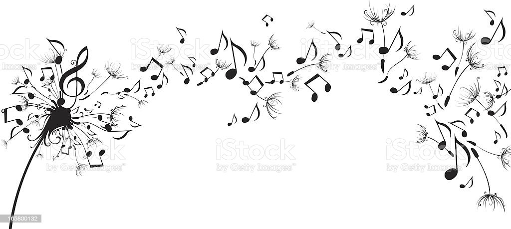 Musical notes floating as dandelion seeds vector art illustration
