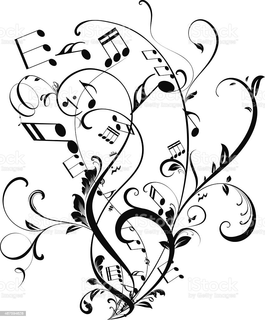 Musical notes floating vector art illustration