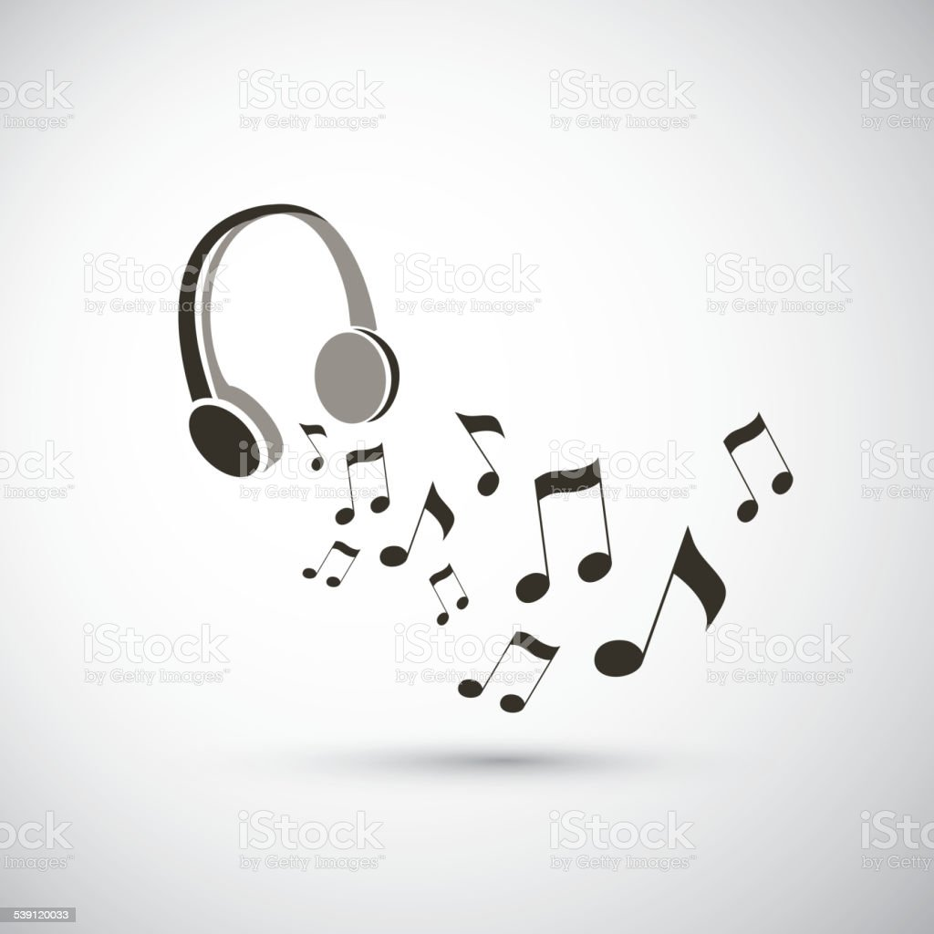 Musical Notes Flying from Headphones vector art illustration