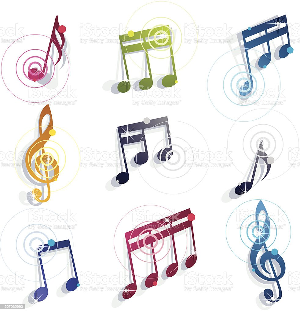 Musical notes icons set. vector art illustration