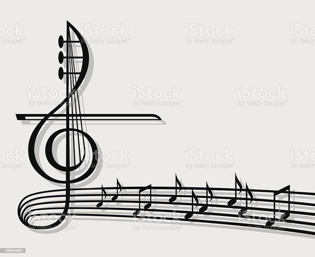 Musical notes on staff with large music icon vector art illustration