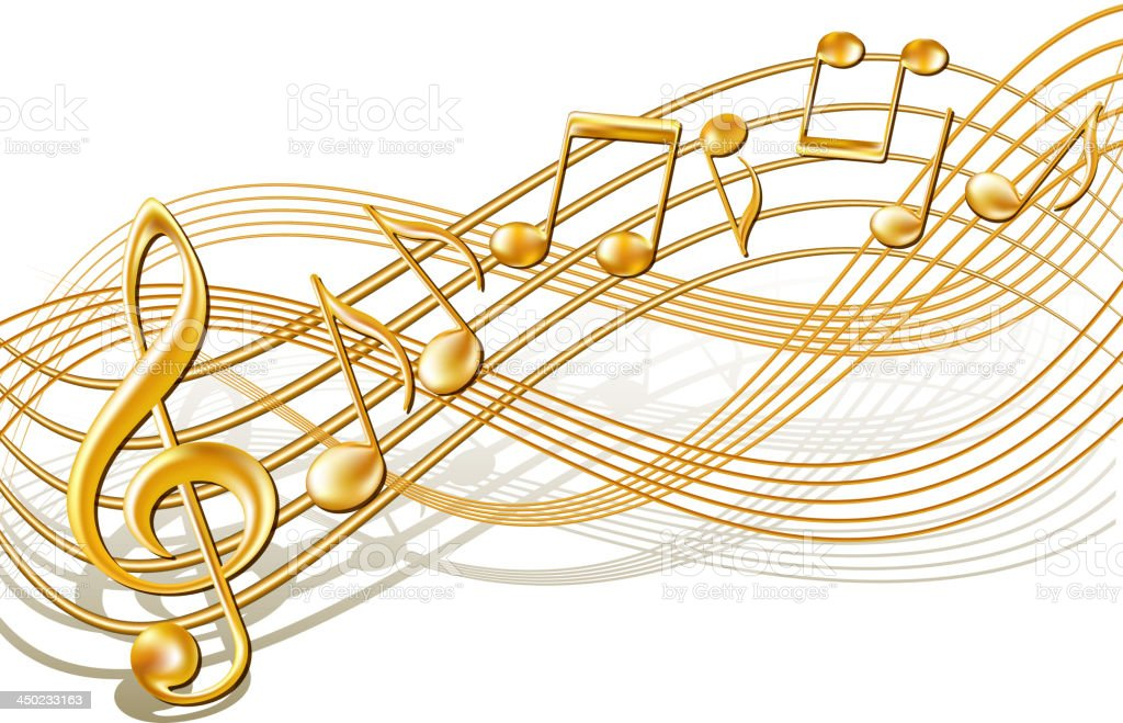 Musical notes staff background on white. royalty-free stock vector art