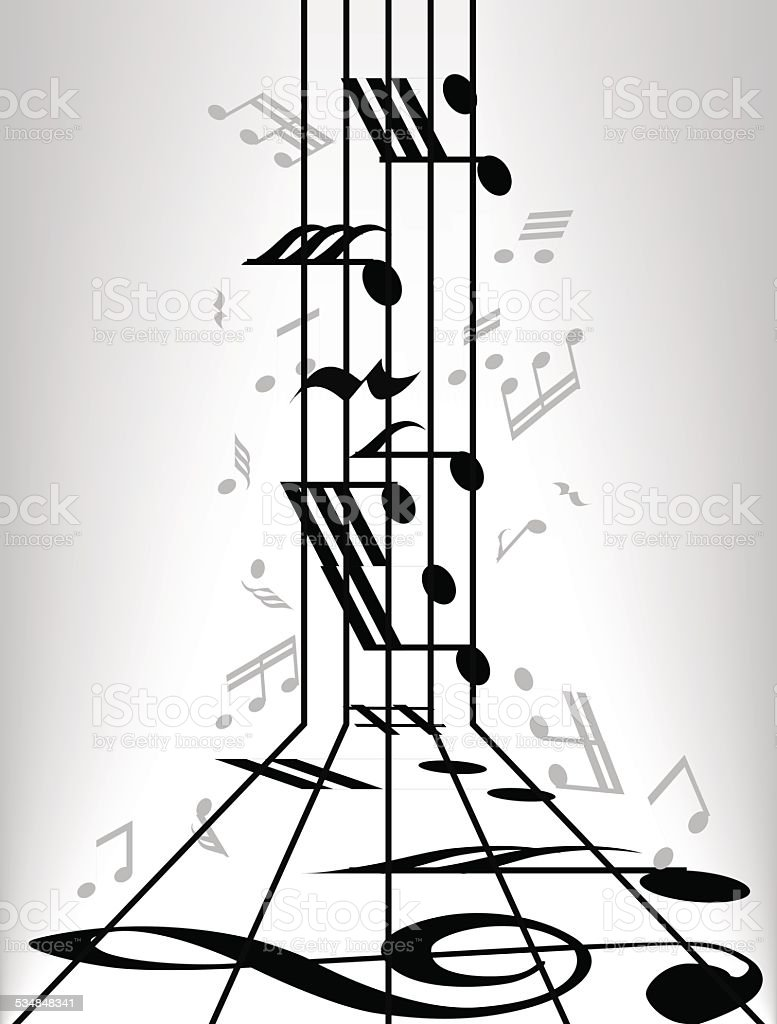 Musical notes staff background vector art illustration