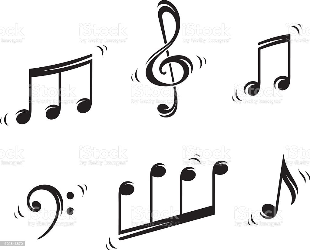 Musical notes vector art illustration