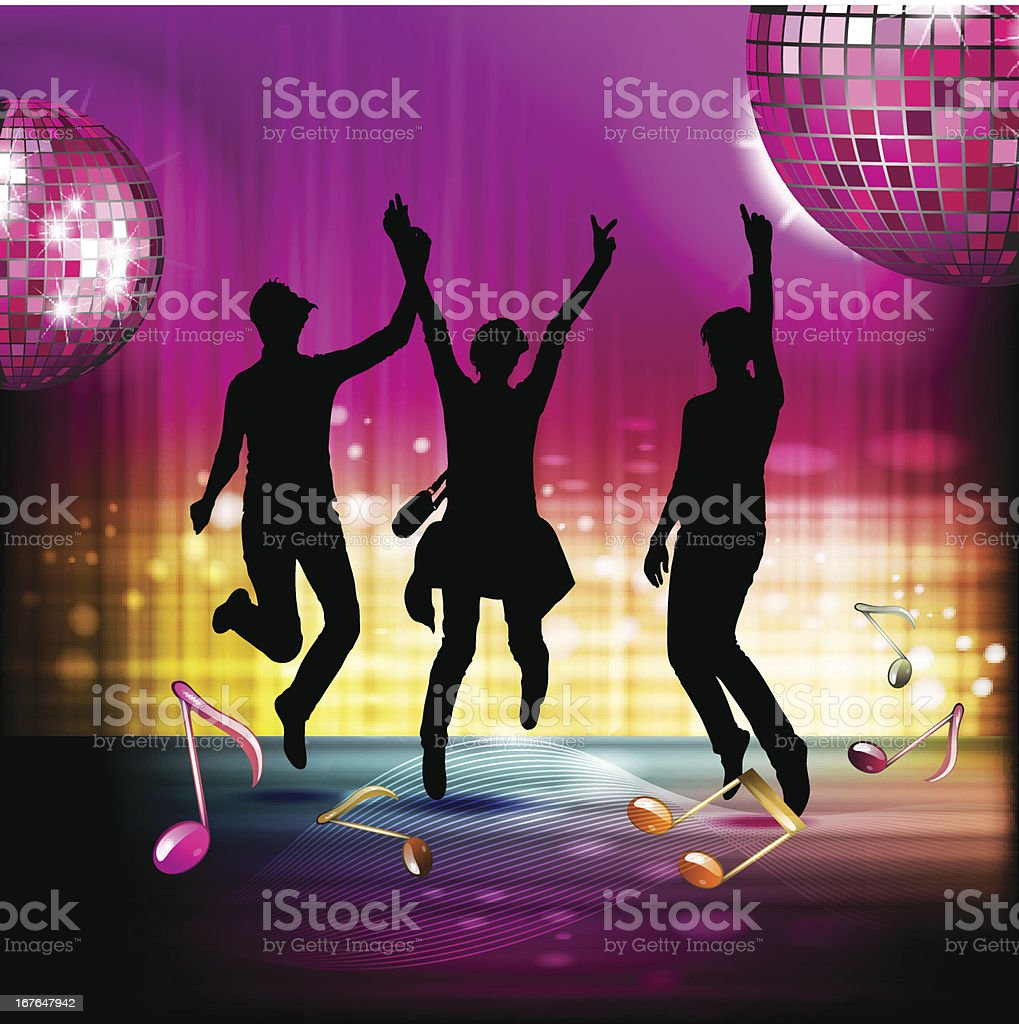Musical notes with disco ball royalty-free stock vector art