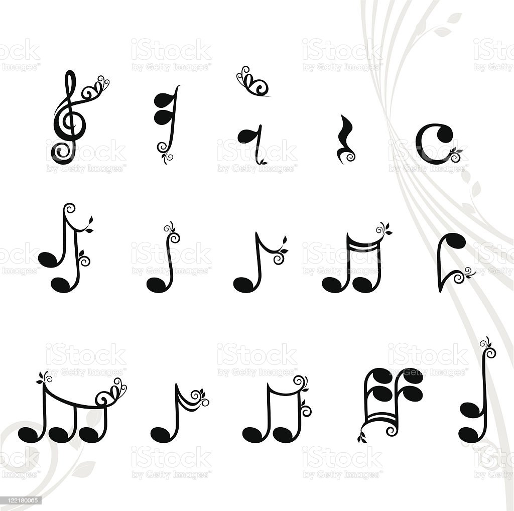 musical notes with floral design elements royalty-free stock vector art