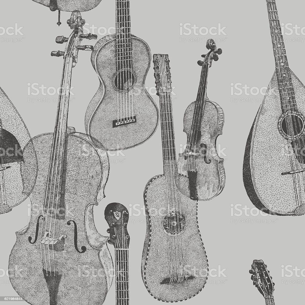 Musical Repeat Pattern vector art illustration