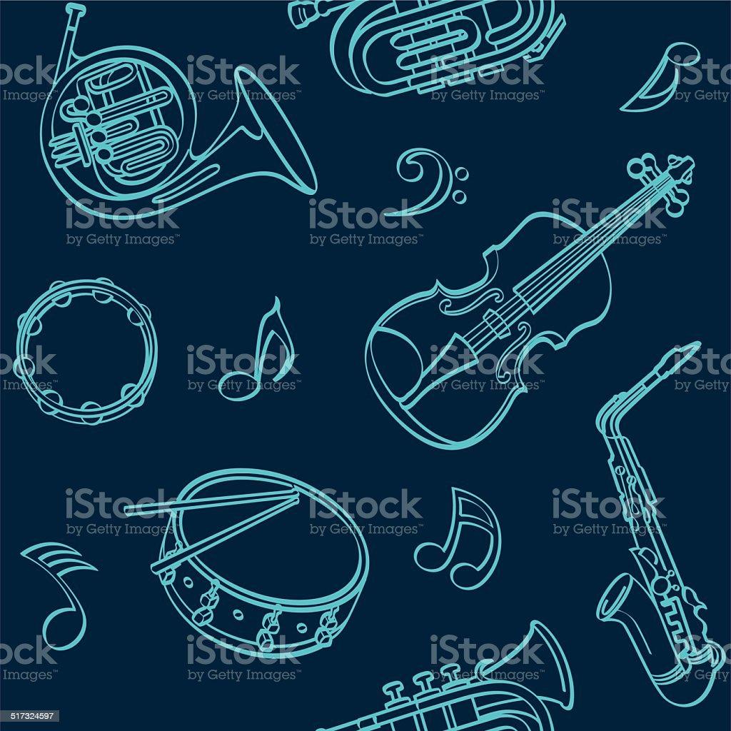 Musical Seamless Background vector art illustration