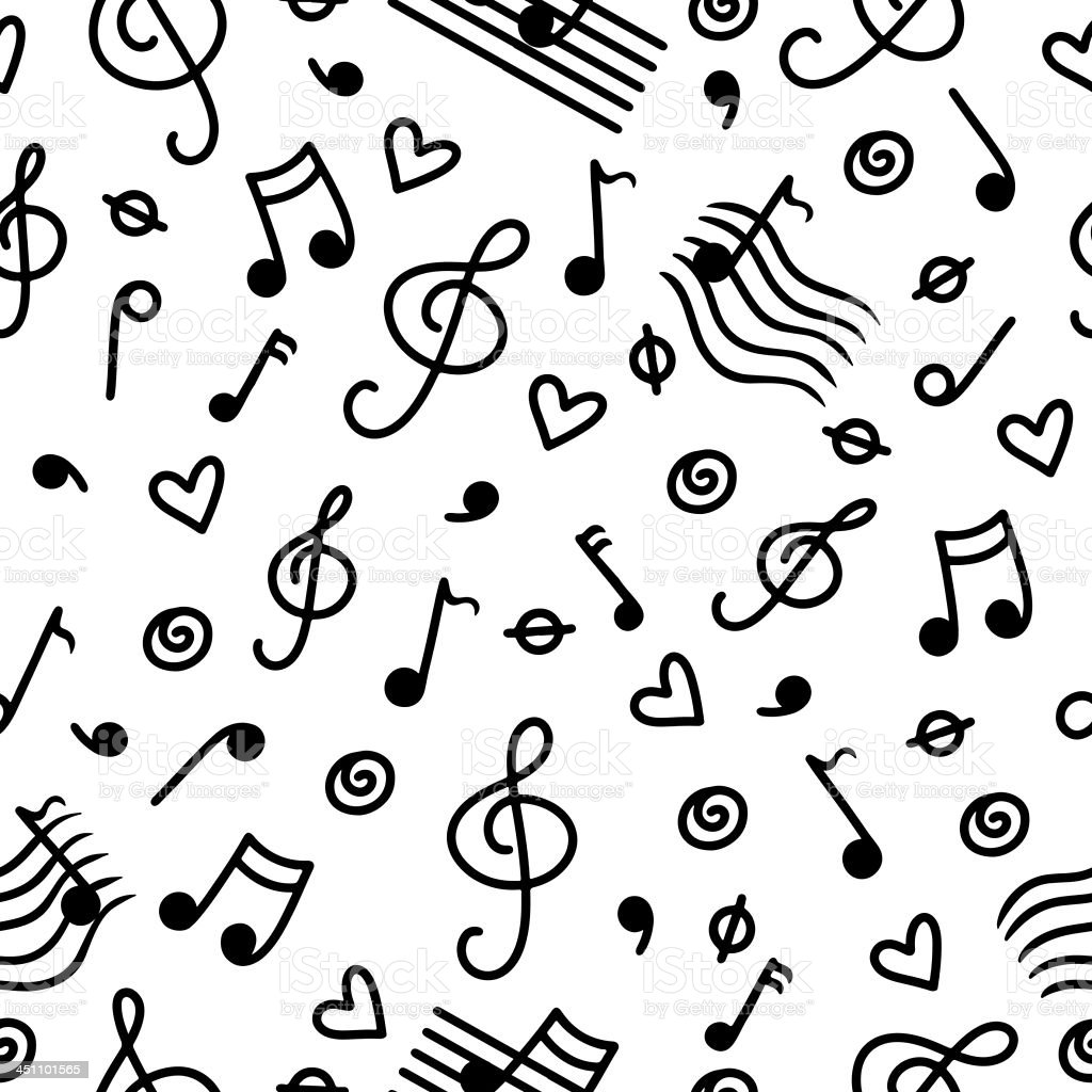 Musical seamless pattern with hearts in black and white vector art illustration
