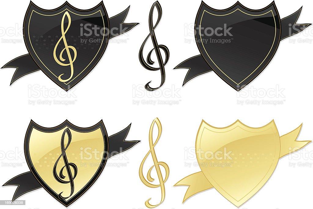 Musical-Cup gewonnen Clefs, Shields Design-Elemente-glänzendes Gold und Schwarz Lizenzfreies vektor illustration