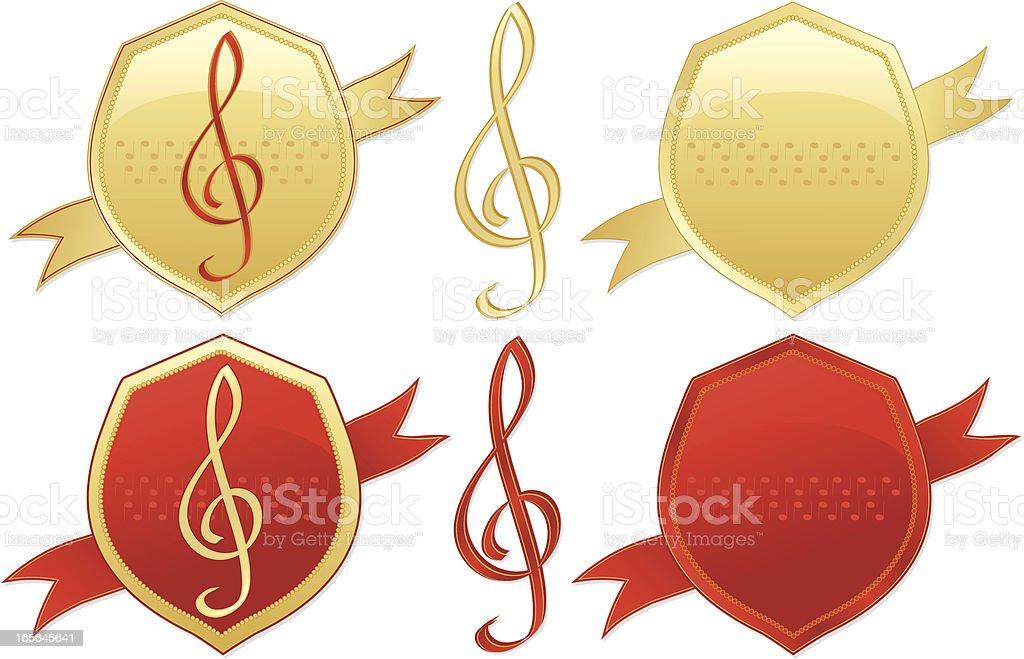 Musical-Cup gewonnen Clefs, Shields Design-Elemente-glänzendes Gold und Rot Lizenzfreies vektor illustration