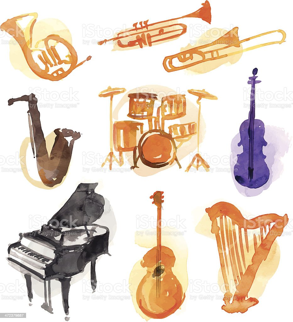 Musical Watercolor Instruments vector art illustration