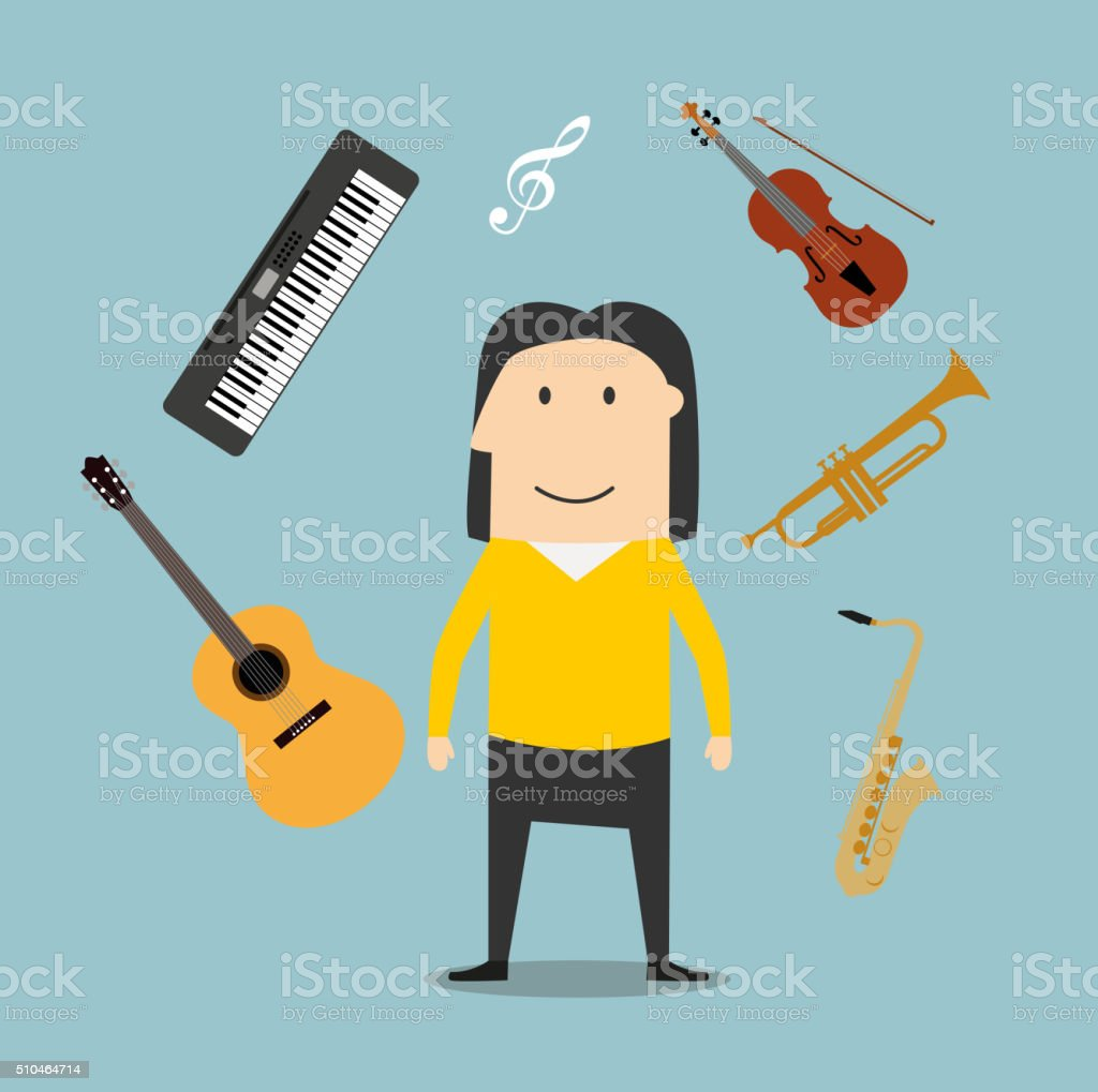 Musician and musical instruments icons vector art illustration