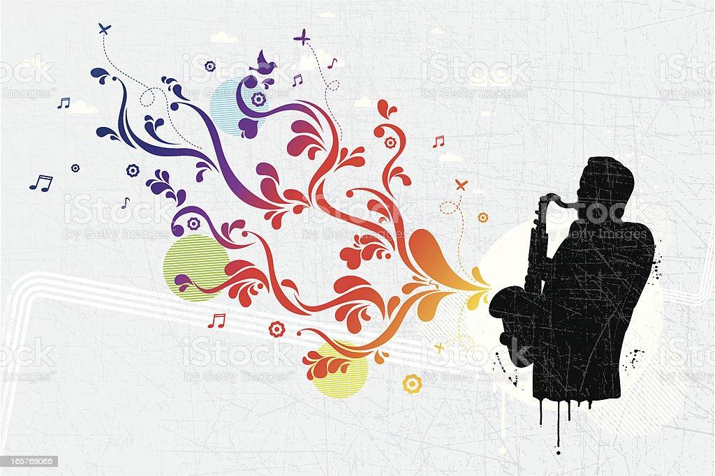 Musician graffiti vector art illustration