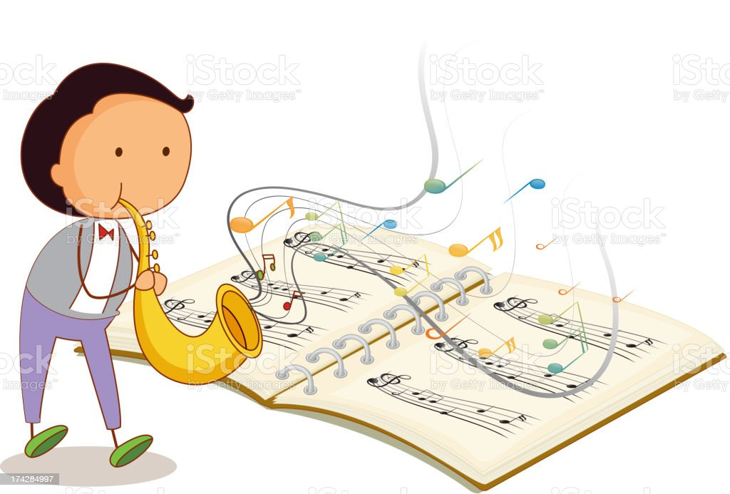 Musician holding trumpet with a musical notebook royalty-free stock vector art