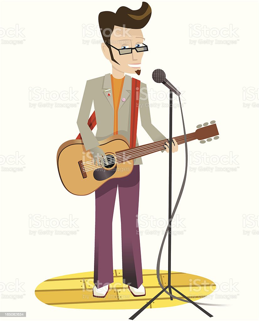 Musician playing acoustic guitar on stage royalty-free stock vector art