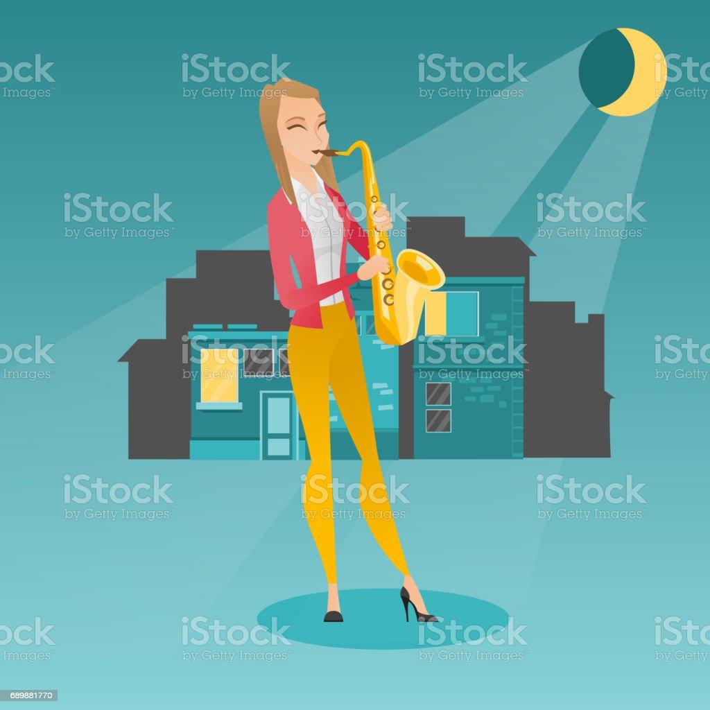 Musician playing on saxophone vector illustration vector art illustration