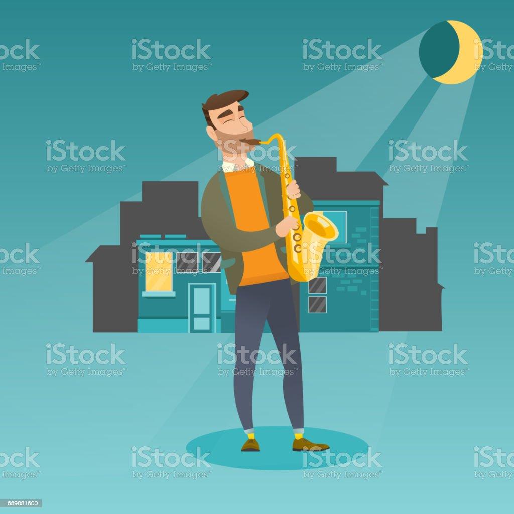 Musician playing the saxophone vector illustration vector art illustration