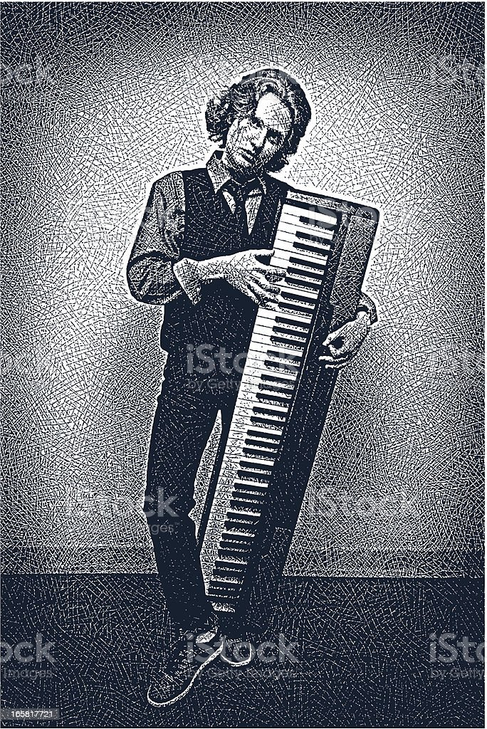 Musician with Keyboard royalty-free stock vector art