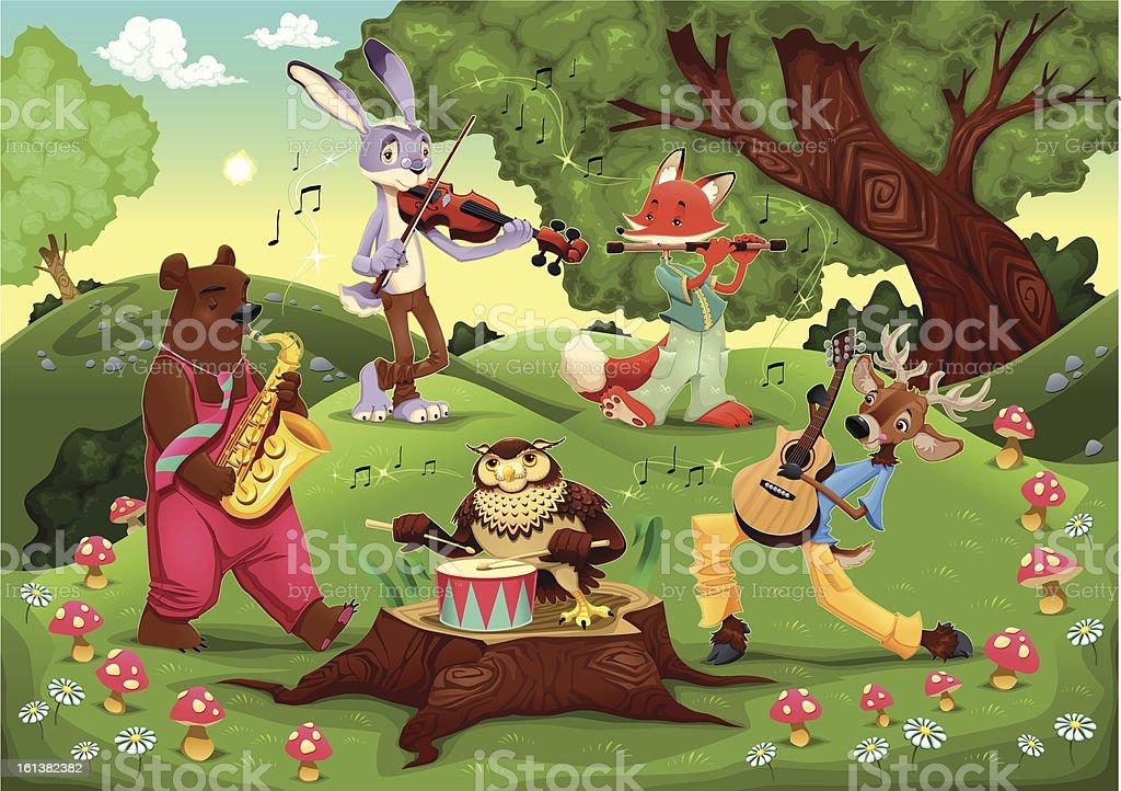 Musicians animals in the wood. vector art illustration