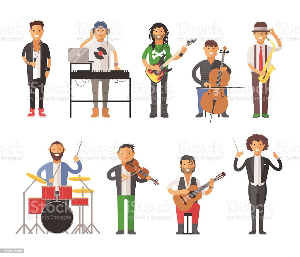 Musicians people flat vector illustration vector art illustration