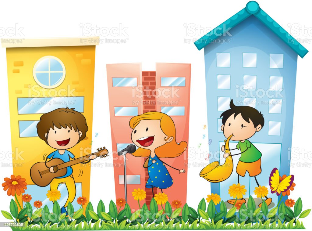 Musicians performing near the buildings royalty-free stock vector art