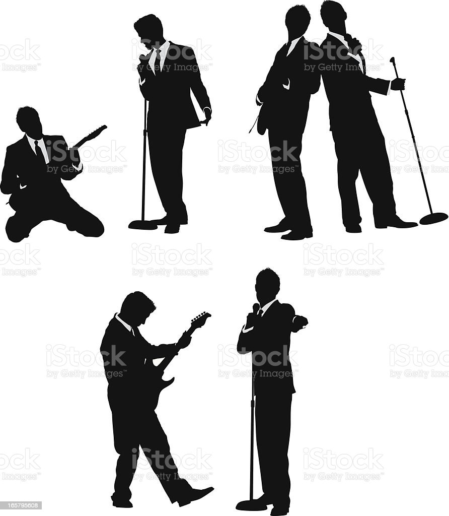 Musicians singing and playing guitar in business suits vector art illustration
