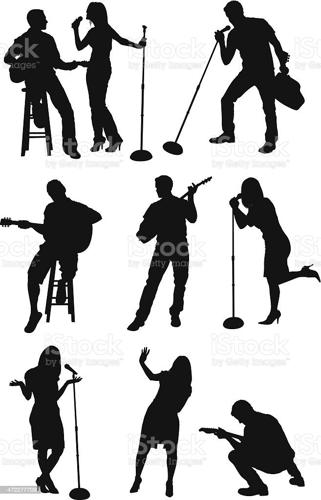 Musicians singing and playing guitar vector art illustration