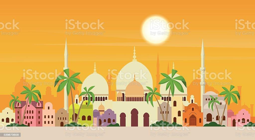 Muslim Cityscape Mosque Building Religion vector art illustration