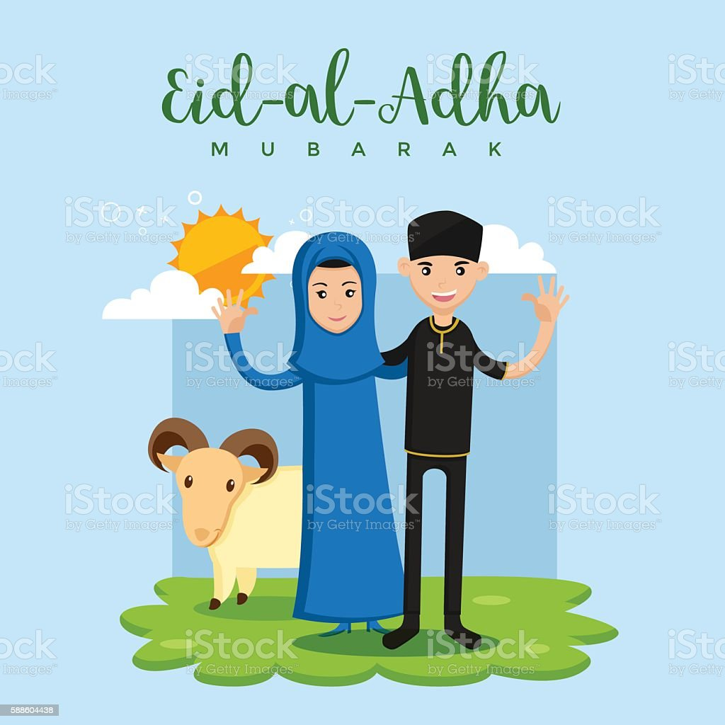 Muslim Couple Eid Al Adha Greeting Card - Happy Family vector art illustration