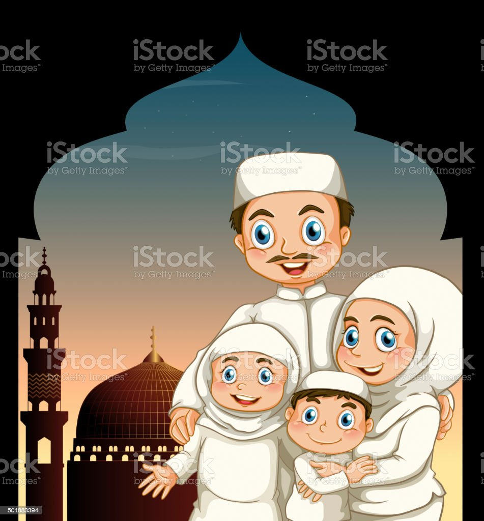 Muslim family by the mosque vector art illustration