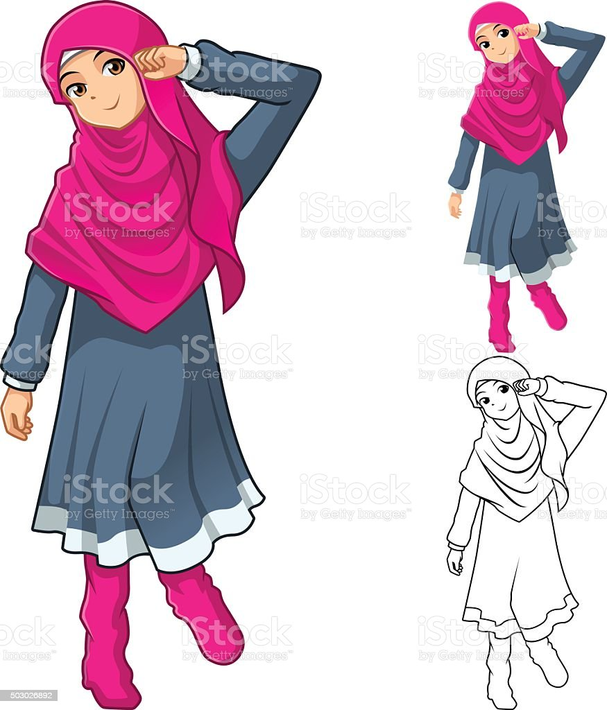 Boots fashion pic boots clip art - Muslim Girl Fashion With Dress And Boots Royalty Free Stock Vector Art